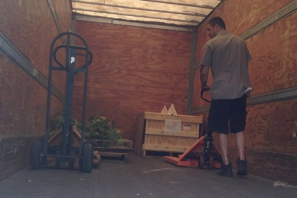 pallet and crate loaded on trailer
