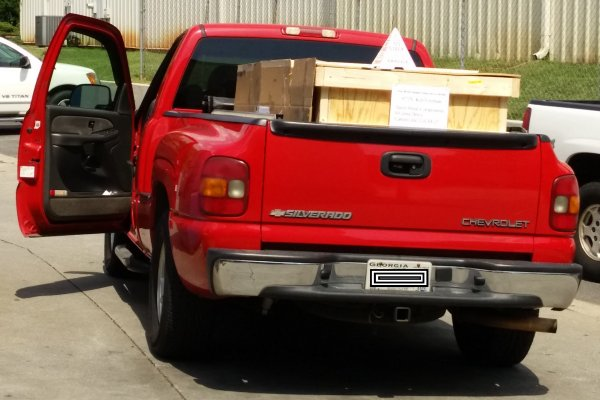 pallet and crate in customer pickup truck - delivered!