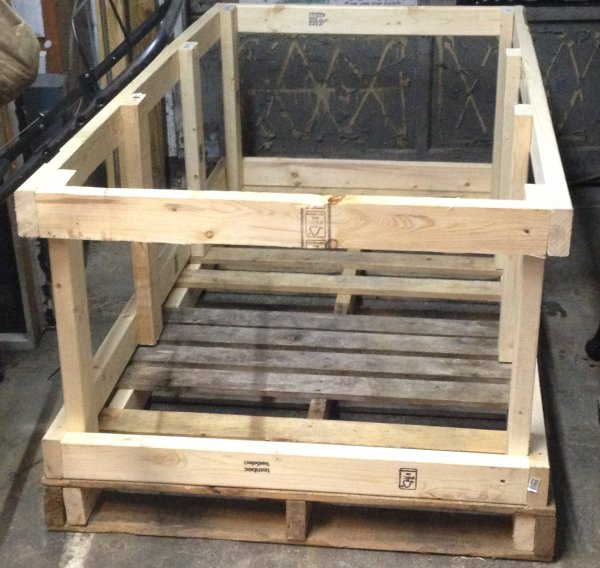 a raw crate on a pallet